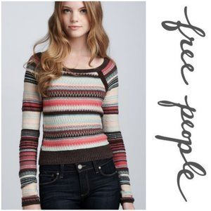 FREE PEOPLE Striped Stars Sweater
